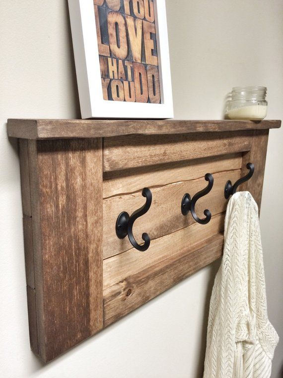 Rustic Wooden Entryway Walnut Coat Rack, Entryway Coat Rack Hooks, Rustic Home Decor, Furniture Floating Wooden Shelf Storage Wood Coat Rack #crochethooks
