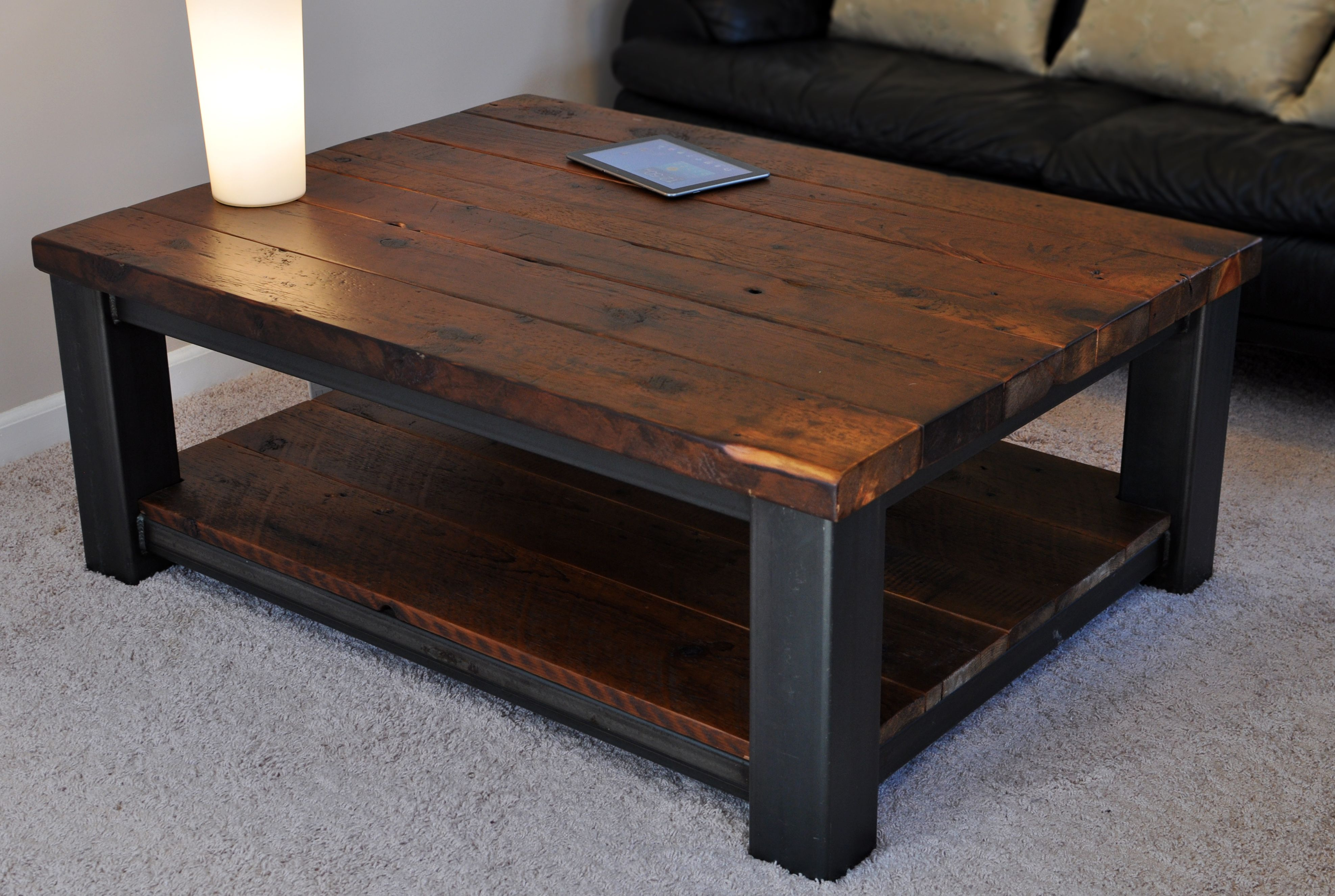 Reclaimed wood and metal coffee table by Rustic Refinery