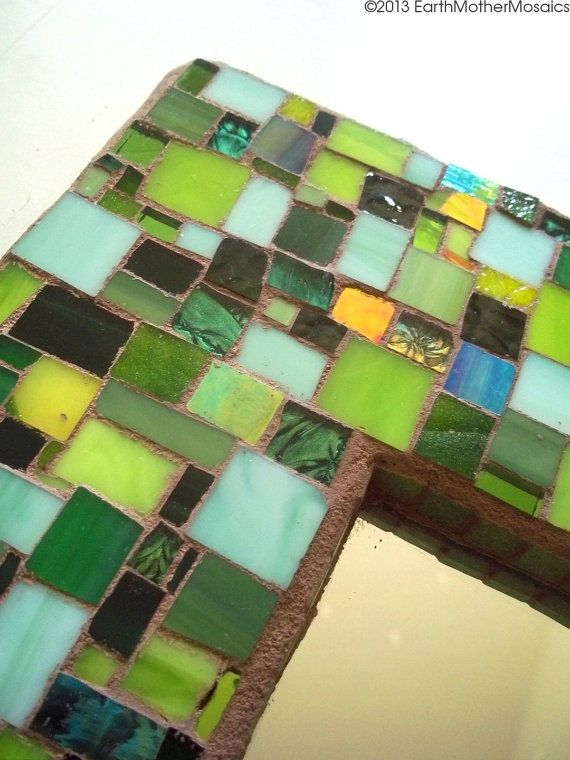 Mosaic Mirror // Stained Glass // Green // by earthmothermosaics