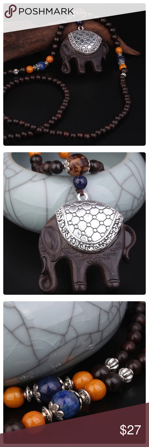 3x Large Tibetan Silver Elephant Head Charms Pendants
