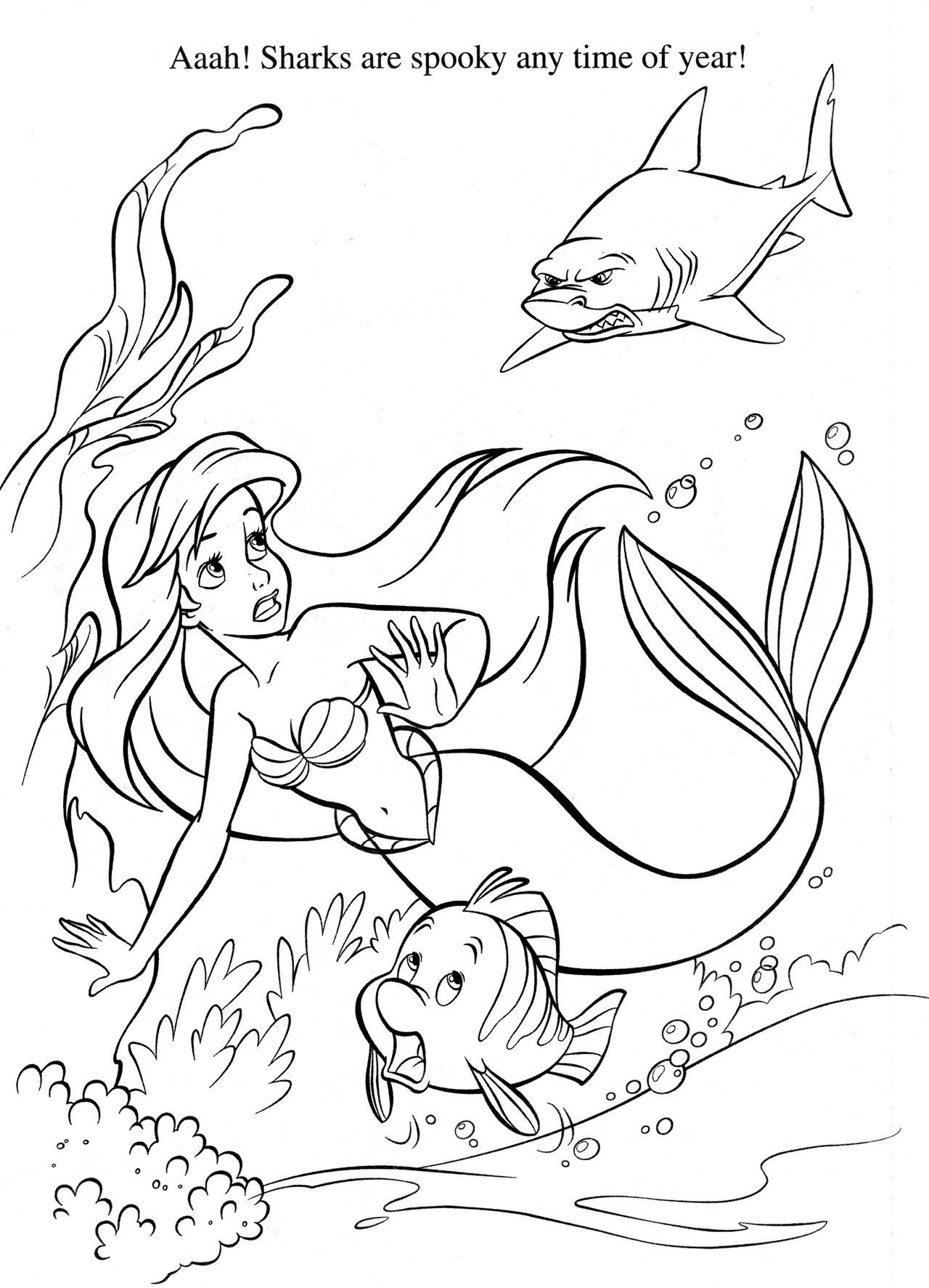 The Little Mermaid Coloring Page Youngandtae Com Disney Coloring Pages Mermaid Coloring Pages Shark Coloring Pages