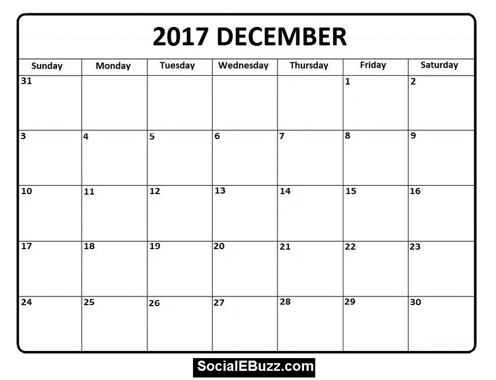 December 2017 Calendar Printable Template With Holidays Pdf Usa Uk