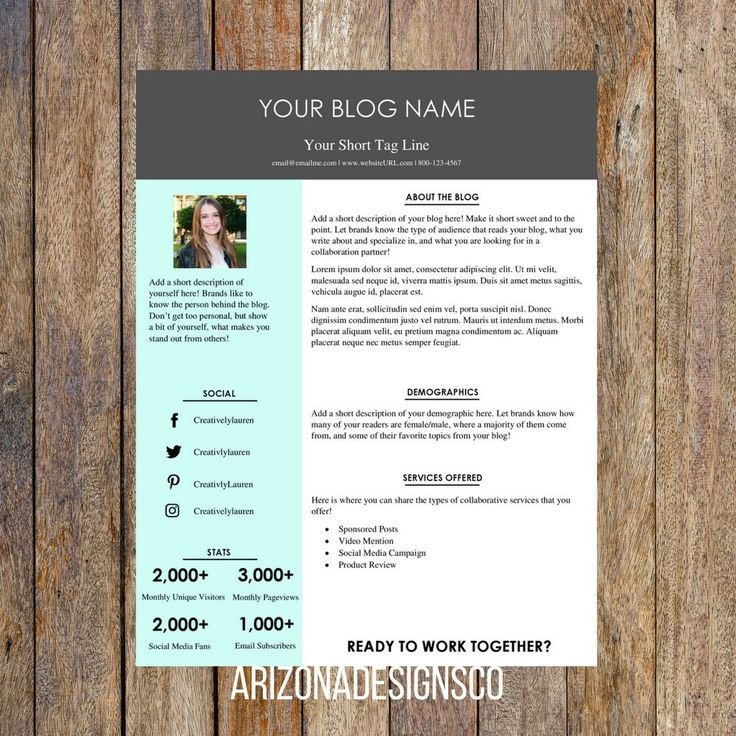 One Page Media Kit Template  Blog Media Kit Branding Kit Blog