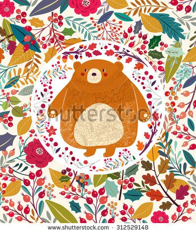 Beautiful vector card. Bear in autumn forest. Autumn time.