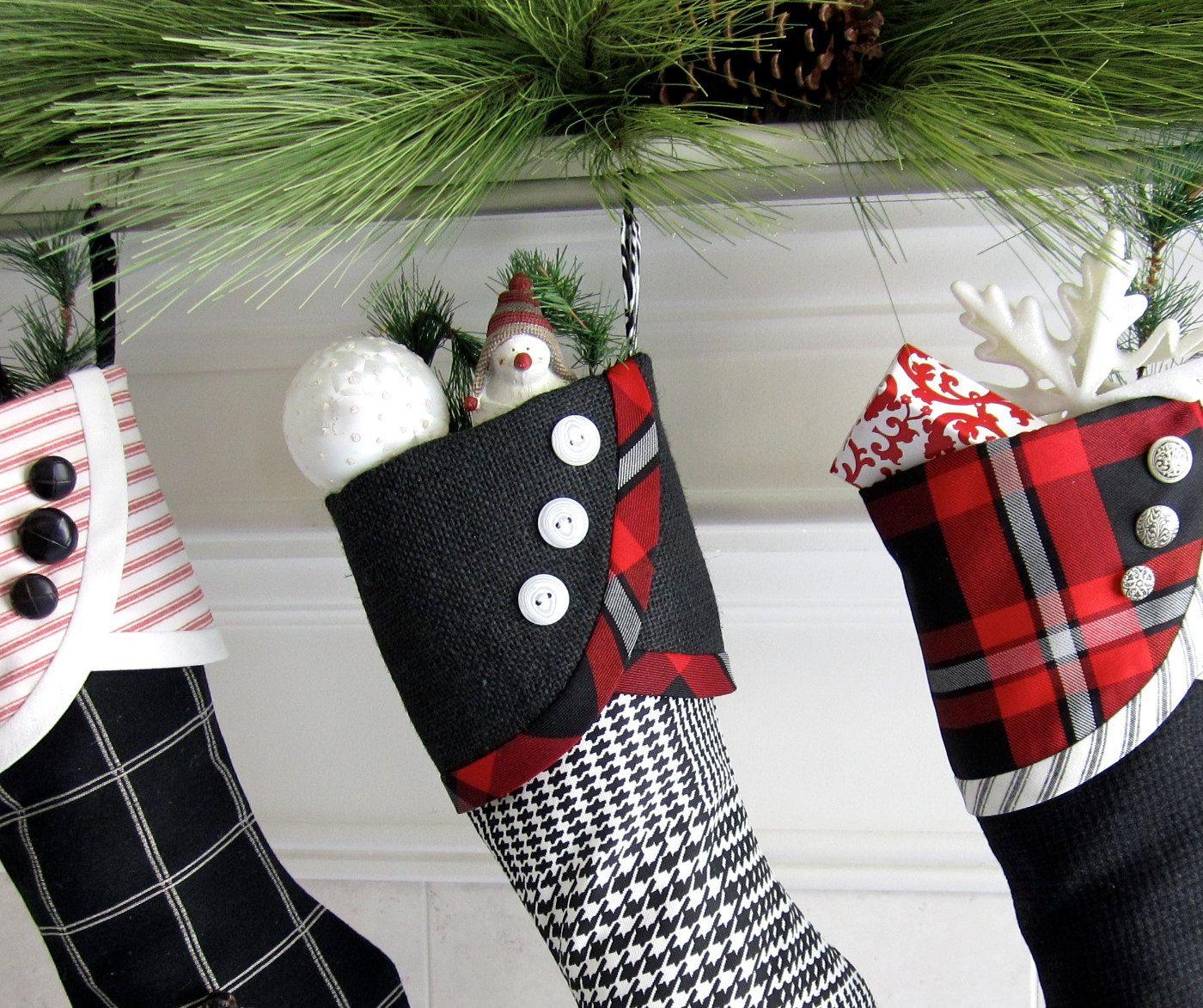 Black And White Christmas Stockings.No 2 Christmas Stocking Black White And A Little Red