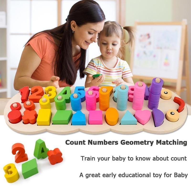 Preschool Wooden Montessori Toys Count Geometric Shape Cognition Match Baby
