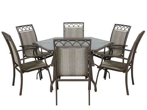 WSO 430 7PC World Source Hexagon Patio Table and Six Chairs