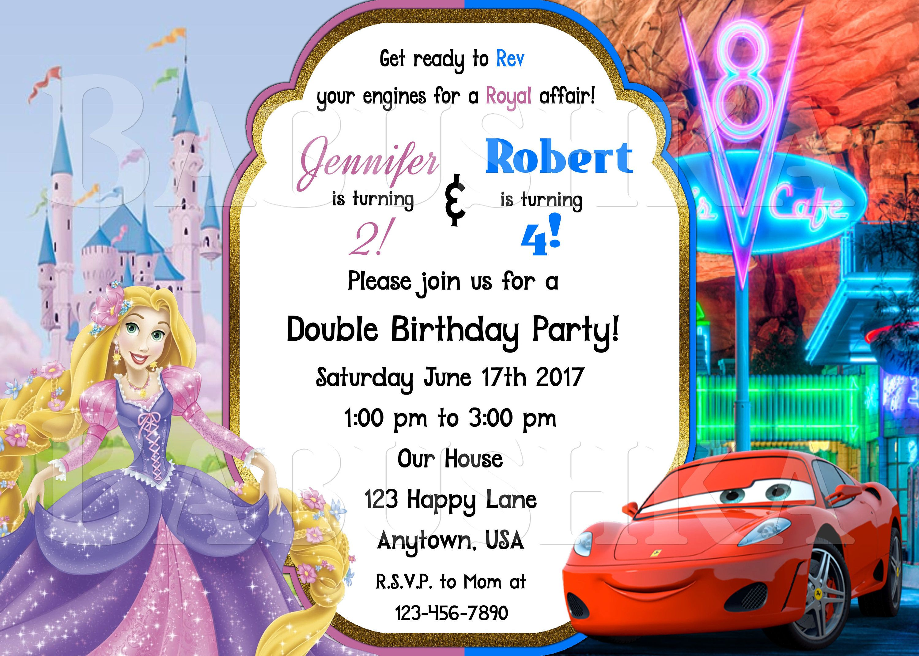 Princess Rapunzel and Cars Birthday Party Invitation Double Party