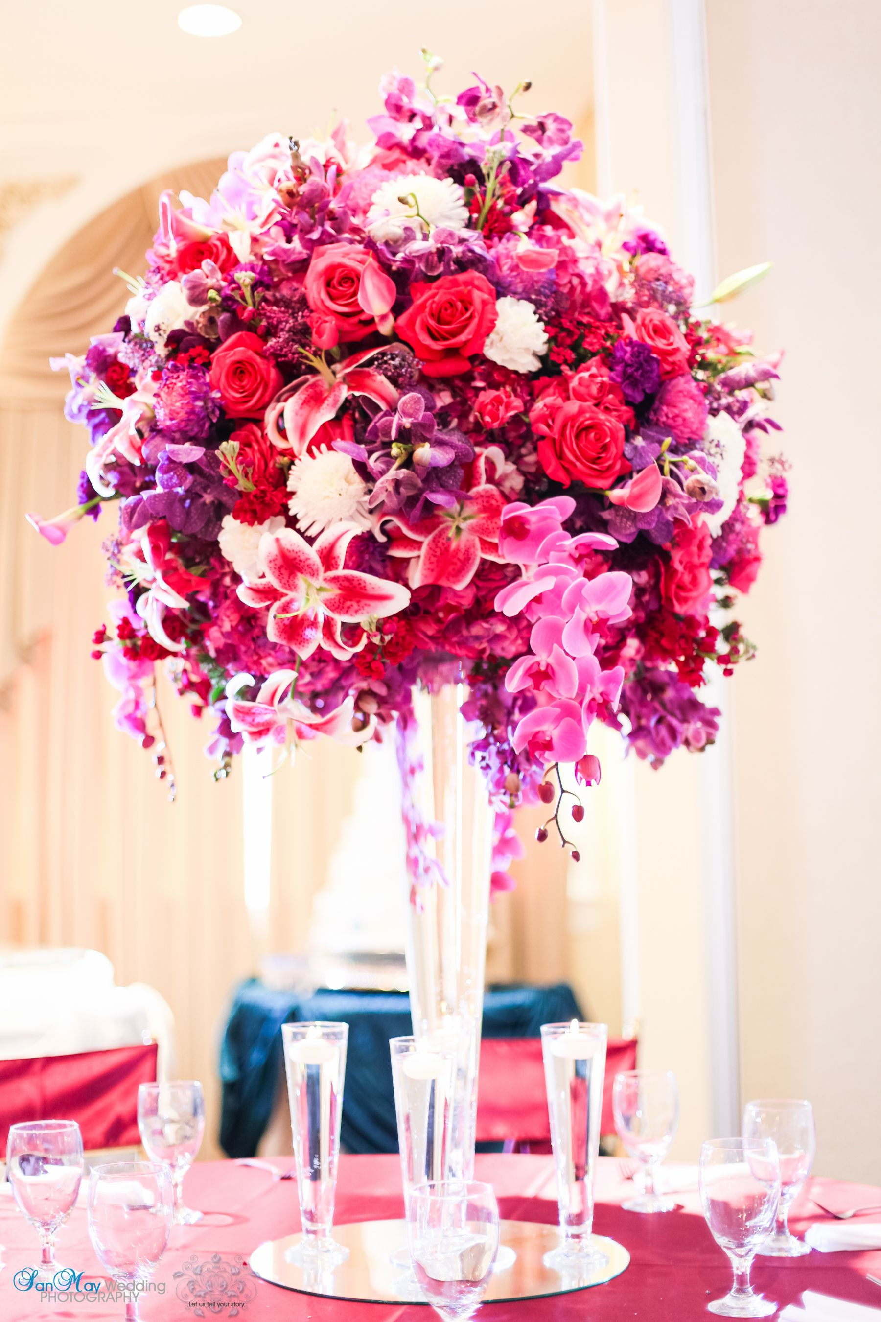 pink purple glam spring summer orchid rose lily wedding centerpiece ...