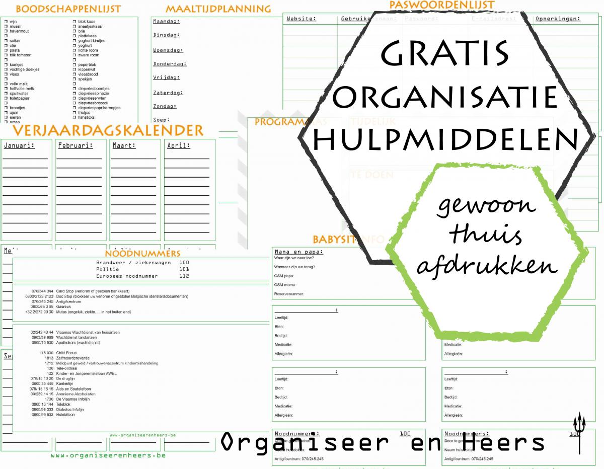 gratis organisatie hulpmiddelen - printables Organiseer en Heers
