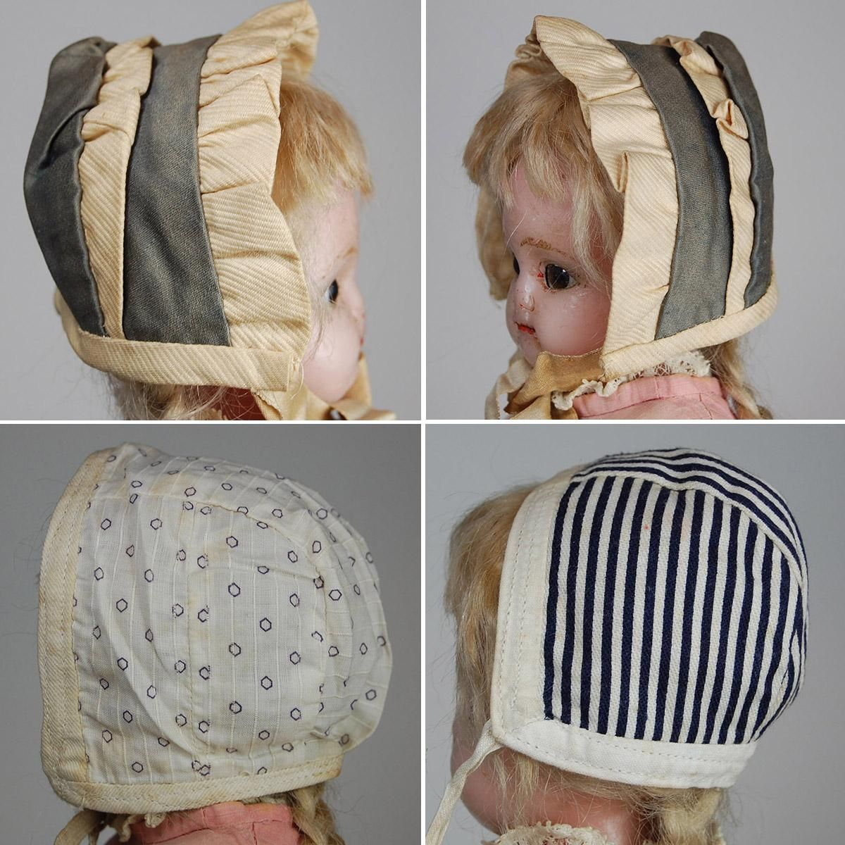 Group of three older handmade doll bonnets and one small apron