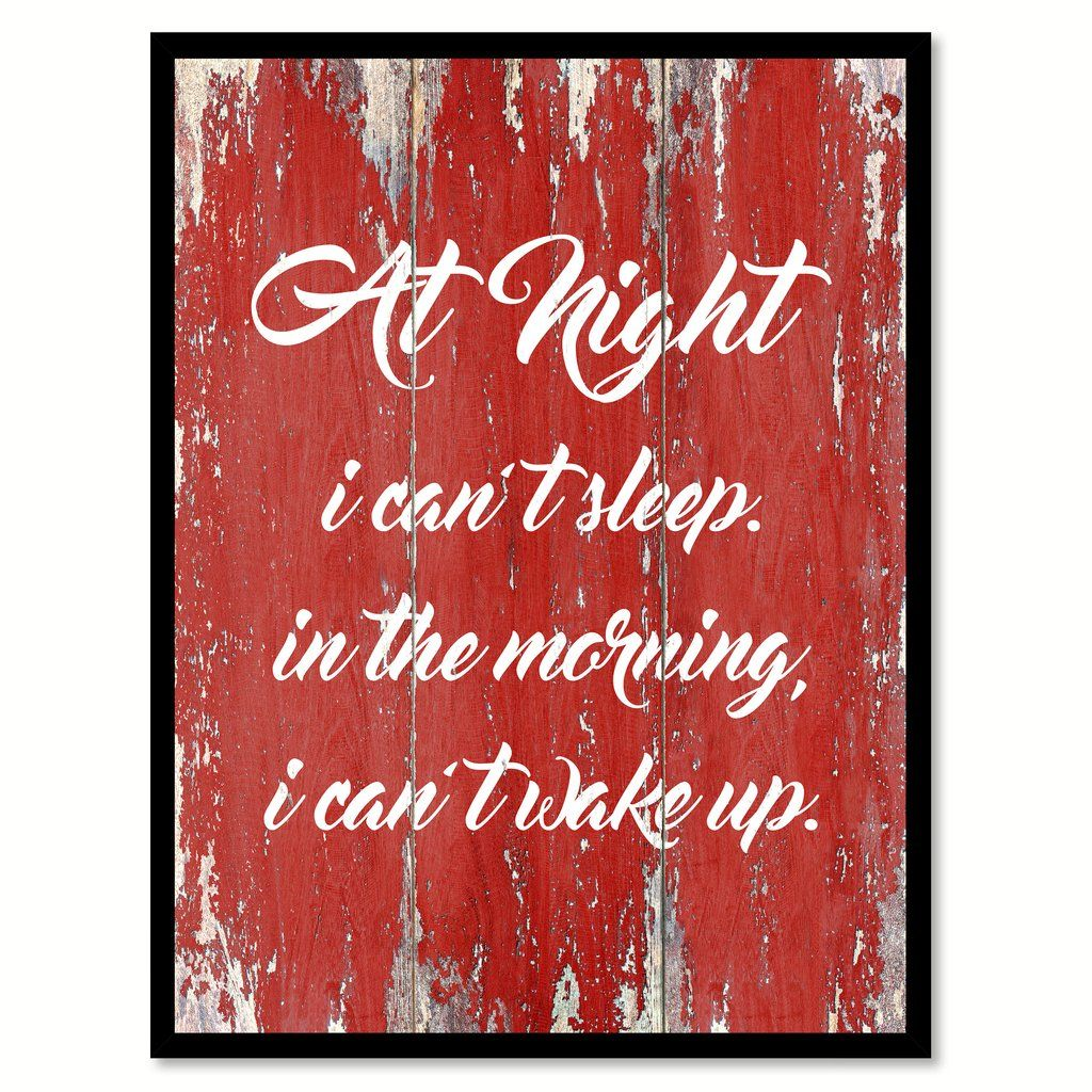 At Night I Can't Sleep In The Morning Quote Saying Gift