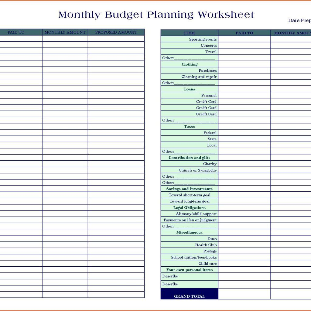 Free Simple Monthly Budget Worksheet And Free Monthly Budget