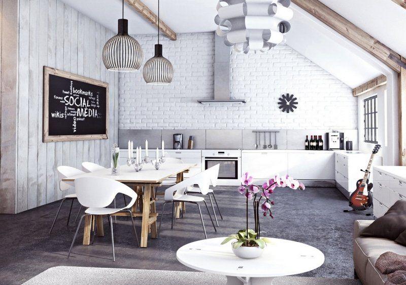 Wohnraum mit Loft-Charakter und Ziegelwand in Weiß Küchen - offene kuche wohnzimmer ideen
