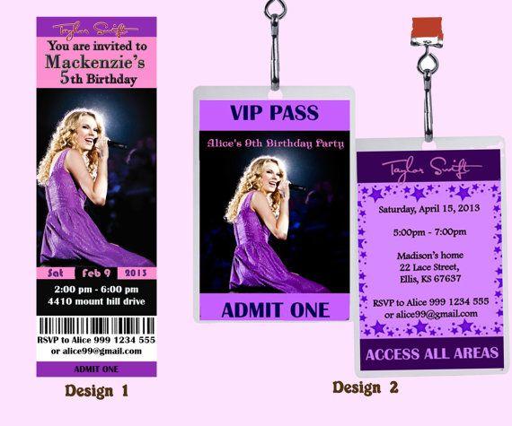 Taylor Swift Birthday Party Invitation Ticket or by 9thKingdom
