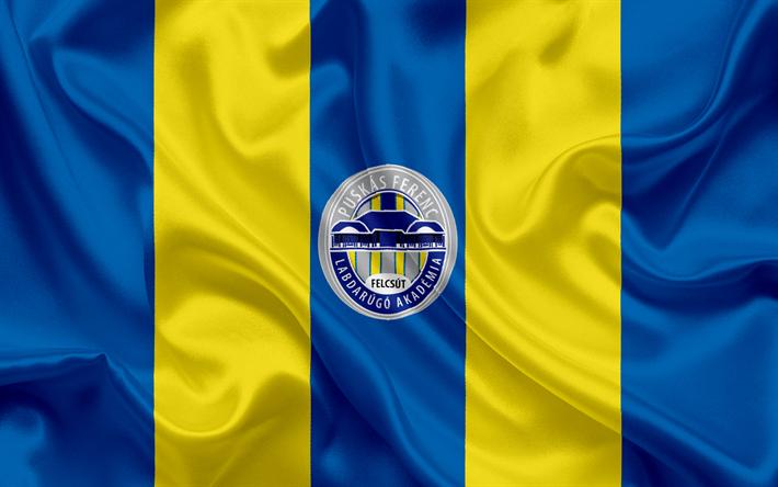 Lataa kuva Puskas FC Akademia, Unkarilainen Jalkapalloseura, tunnus, Puskas Akademia logo, silkki lippu, Felcoute, Unkari, jalkapallo, Unkarin football league