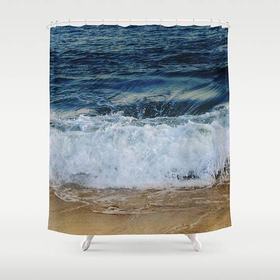 Ocean Shower Curtain Indigo Blue Ocean Wave Deep Ocean Boho Surf