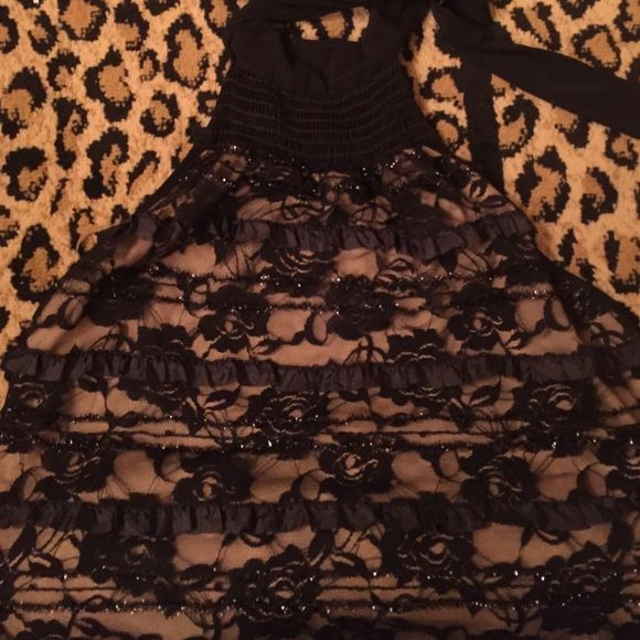 Black lace halter top XL halter top. Black lace with Rose patter and small ruffles. Worn once! Moa Moa Other