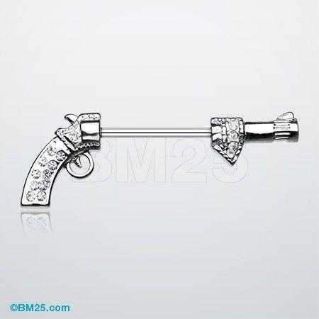 14g Surgical Steel Gun Pistol Revolver Nipple Ring Bar Barbell Piercing Jewelry