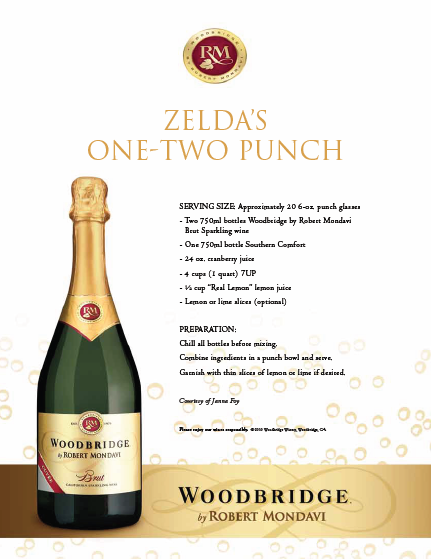 Zelda's One-Two Punch with Woodbridge Brut Sparkling Wine.