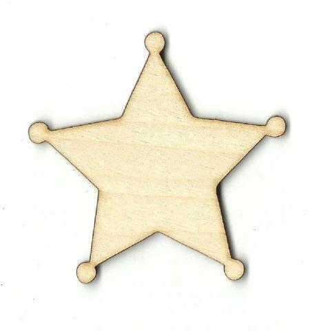 Sheriff's Badge Unfinished Laser Cut Wood Shape BDG360