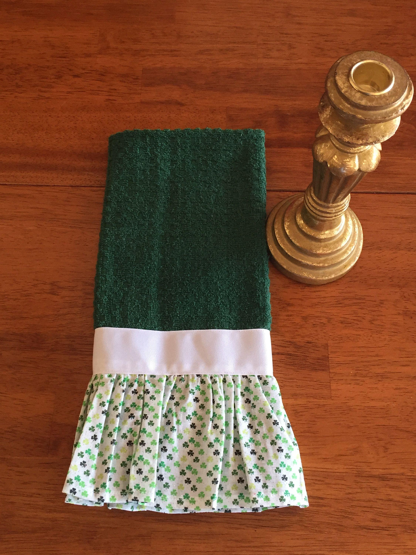 Green Kitchen Towel Green Shamrock Dish Towel Green Three Leaf