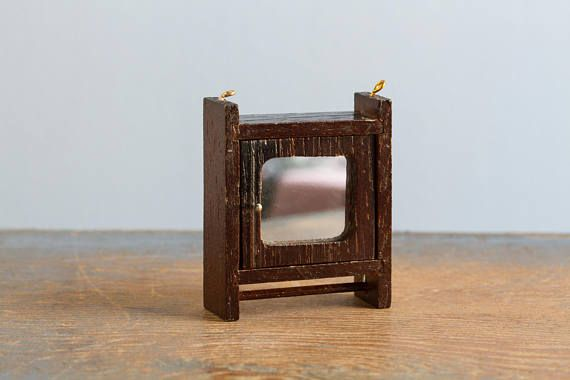 Wooden Medicine Cabinet with Mirror & Towel Bar - 1:12 Scale Vintage ...