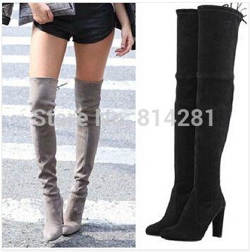 Pas cher Mode cuir suédé gery noir chunky talons vintage bottes femmes au  cours des bottes
