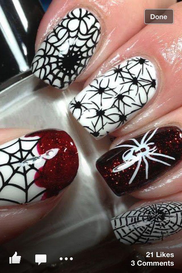 Spider Nails Halloween Pinterest Spider Makeup And Goth Makeup