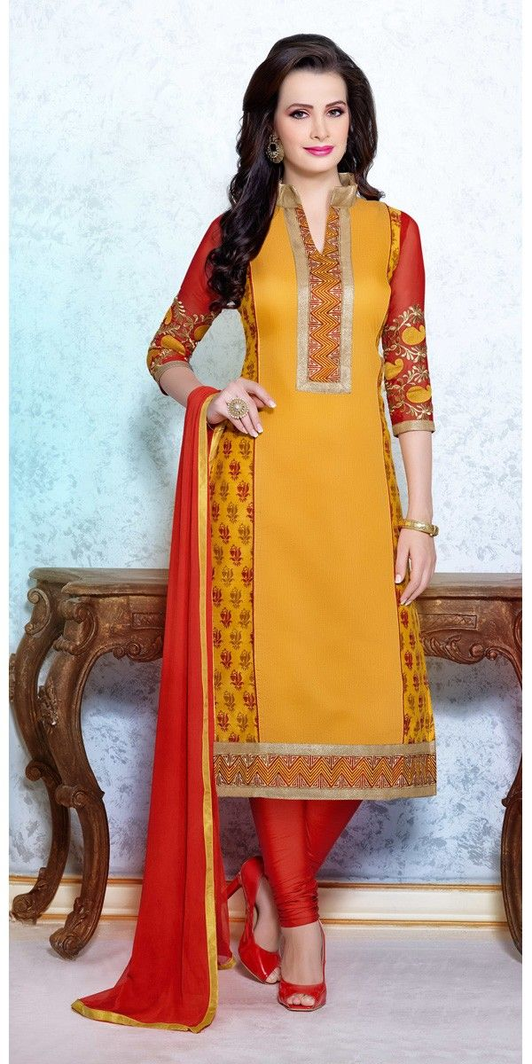 Chanderi Cotton Border Work Orange Semi Stitched Straight Suit #womenswear #fashion #clothing  #SalwarKameez  #SuitSet