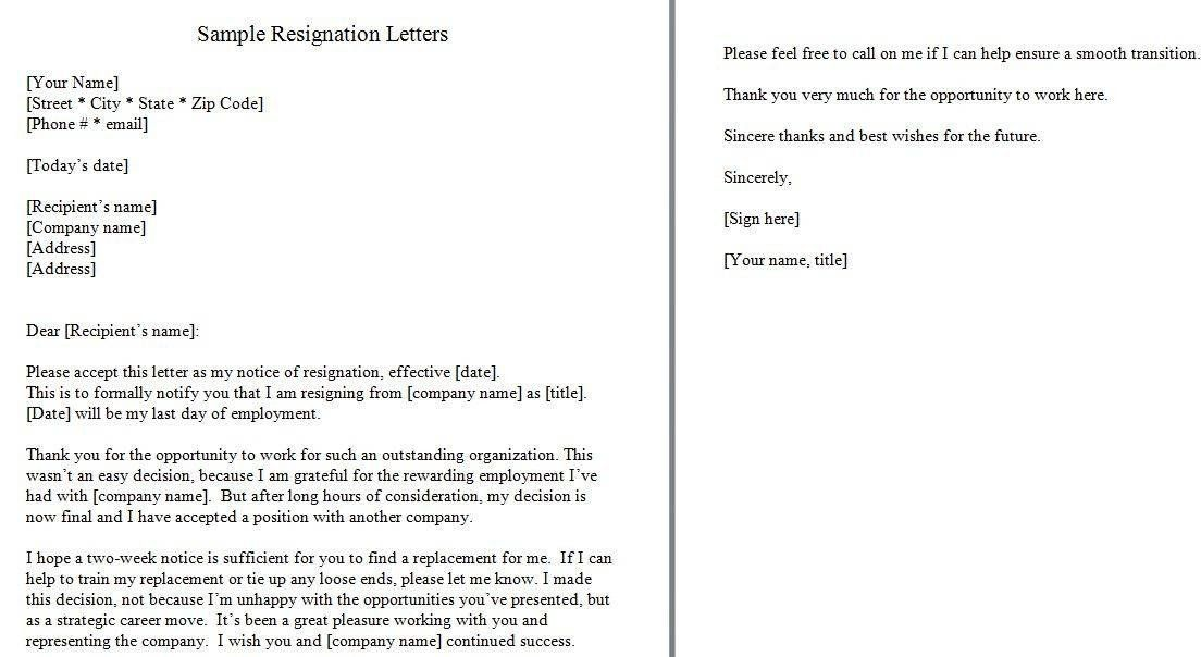 Two Week Resignation Letter Lovely 40 Two Weeks Notice
