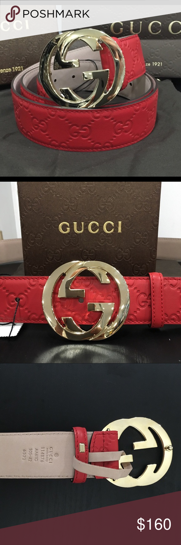 """408fb843d7fd """"ONE DAY ONLY"""" NWT Red leather Gucci belt New Gucci Belt Red leather Gold  interlocking GG buckle Comes with dust bag and box Happy poshing!"""