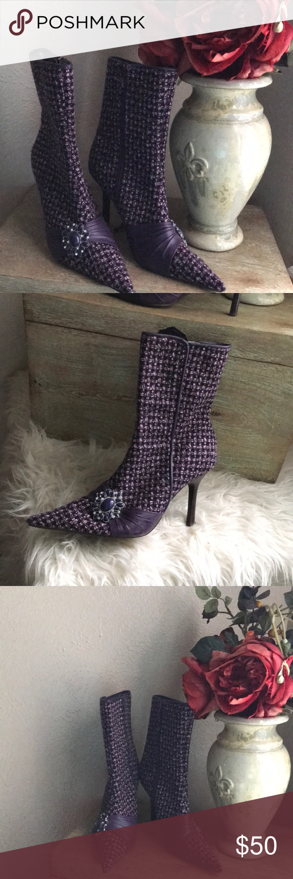 72df7260949 Steve Madden Dynasti Tweed Bejeweled Boots size 6 Bejeweled Embellished  Rhinestone at the side Side zipper