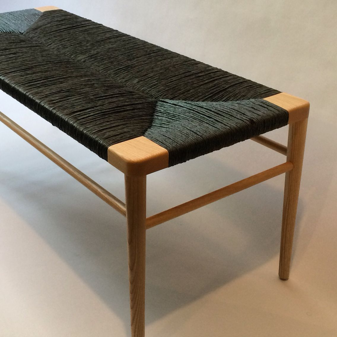 Fine Our Rlb44 Woven Rush Bench In Ash With Black Rush Inzonedesignstudio Interior Chair Design Inzonedesignstudiocom