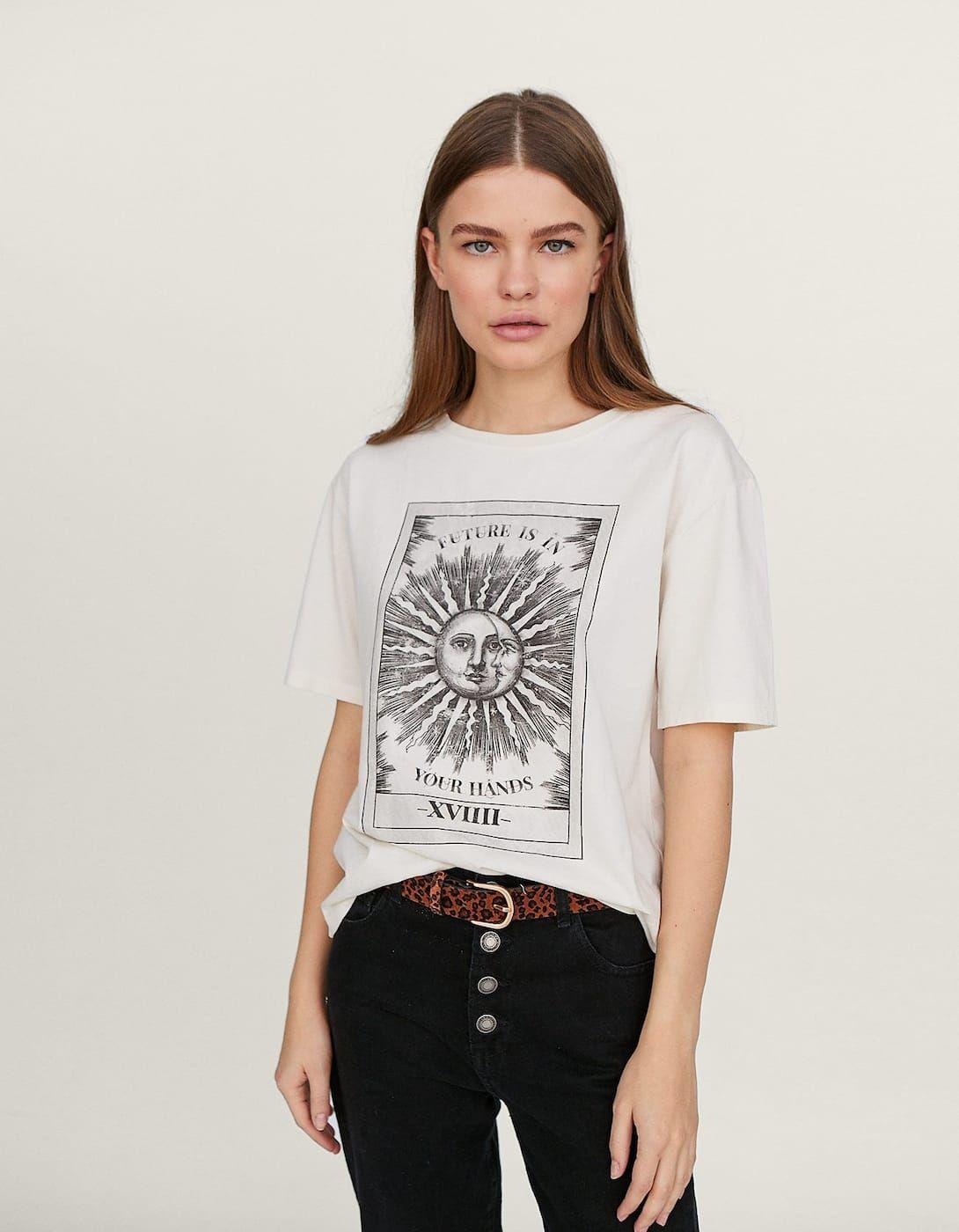 Koszulka Z Astrologicznym Nadrukiem Koszulki Stradivarius