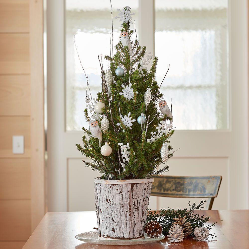 Snowy Owl Tabletop Tree Small Xmas Tree Cheap Christmas Trees Farmhouse Christmas Decor