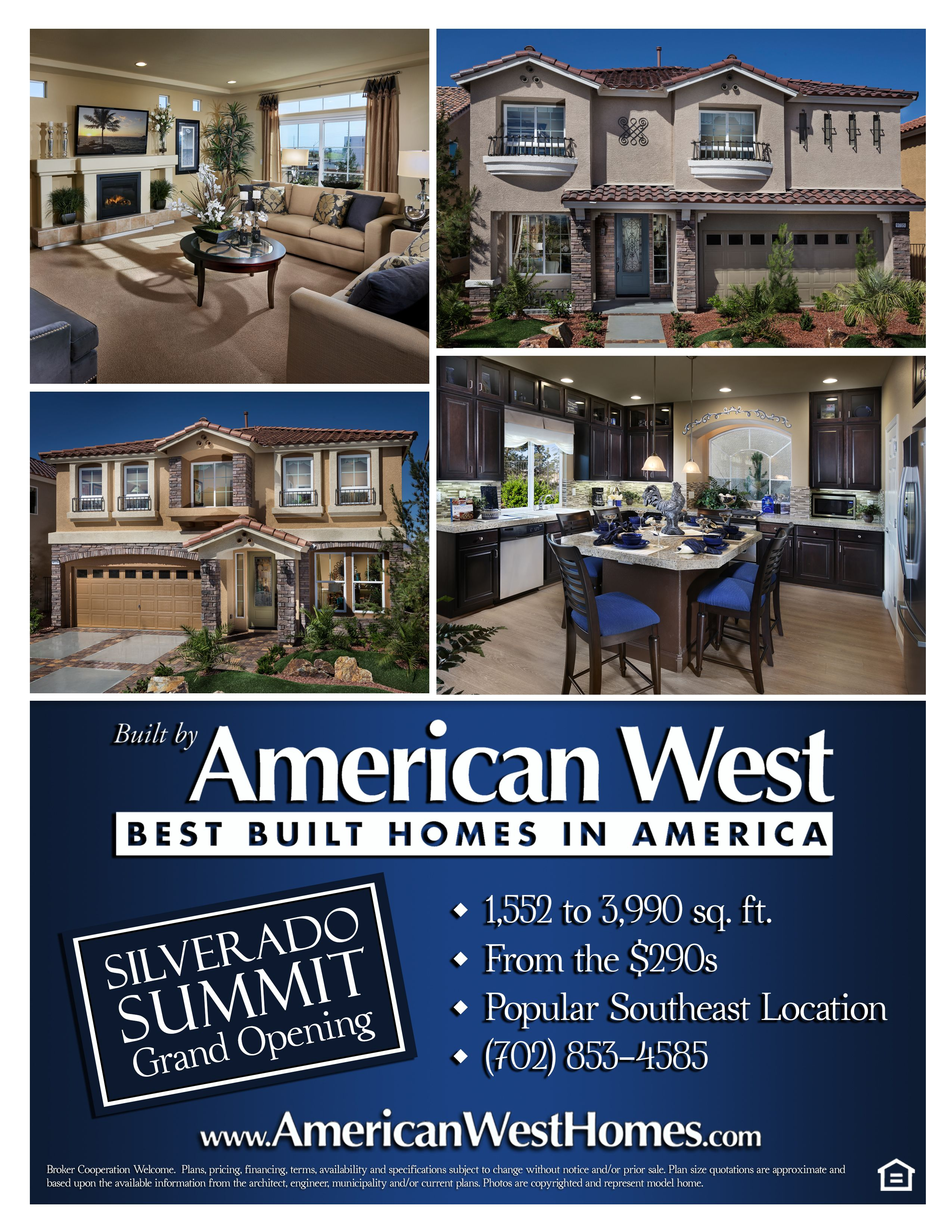 Silverado Summit Offers 5 New Home Designs Ranging From 1 552 To 3 990 Square Feet