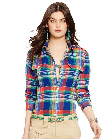 Plaid Cotton Shirt - Polo Ralph Lauren Long-Sleeve - RalphLauren.com