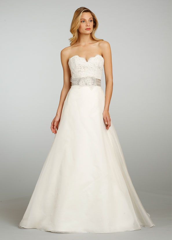 Jim Hjelm 8308 Silk Organza A Line Bridal Gown Strapless Alencon Lace Bodice Over Charmeuse Sweetheart Neckline