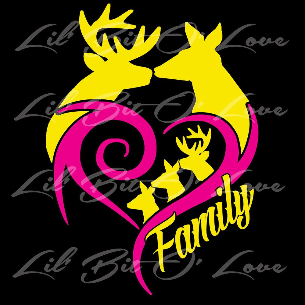 buck doe heart deer family custom vinyl decal personalized to match