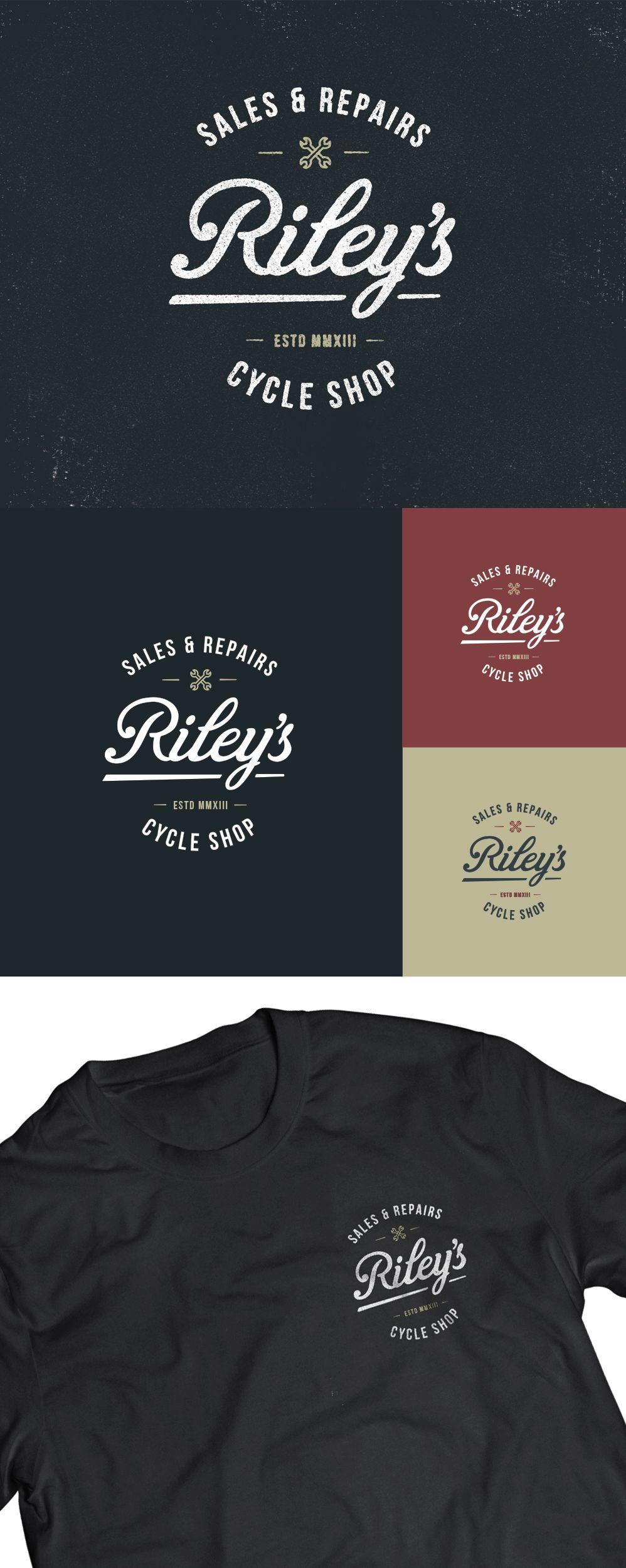 Logo / riley's cycle shop T shirt logo design, Vintage