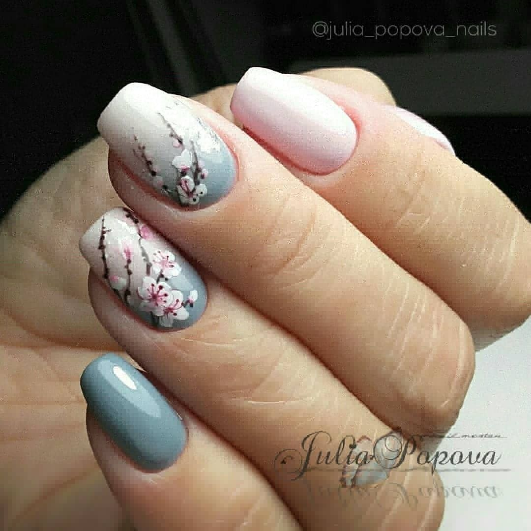 Printanier In 2020 Cherry Blossom Nails Art Cherry Blossom Nails Trendy Nails