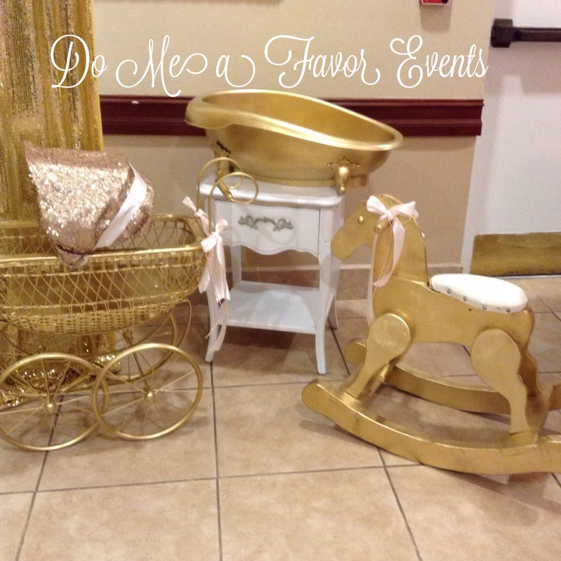 Blush and gold sequin baby carriage, gold tub, gold rocking horse ...