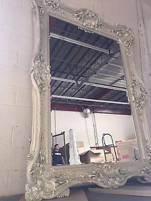 Boho antique pearl white mirror.  Such beautiful detailing.