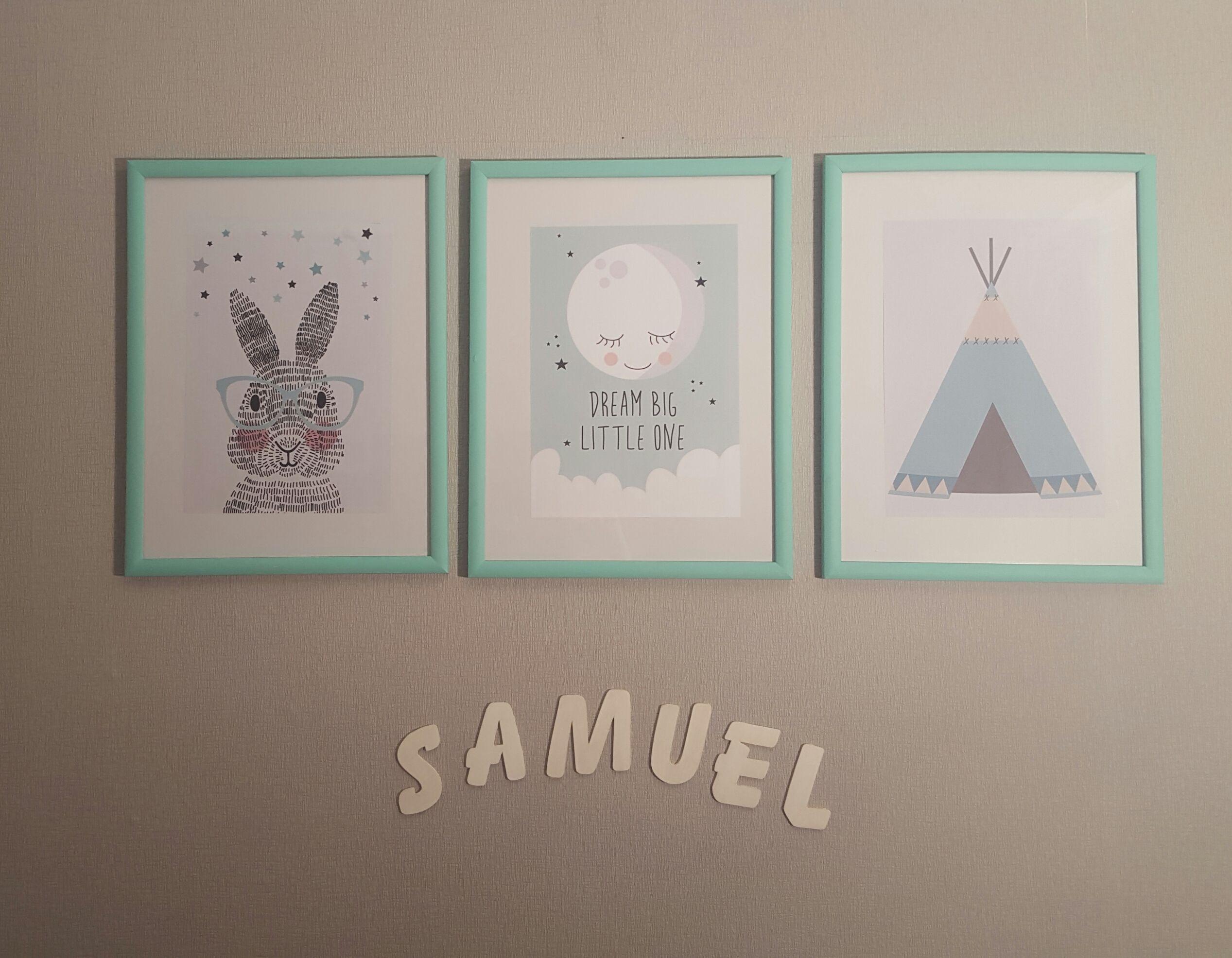 Baby Junge Kinderzimmer Babyzimmer Bilder Wandbilder Hase Mond Dream Big Little One Mint Und Grau
