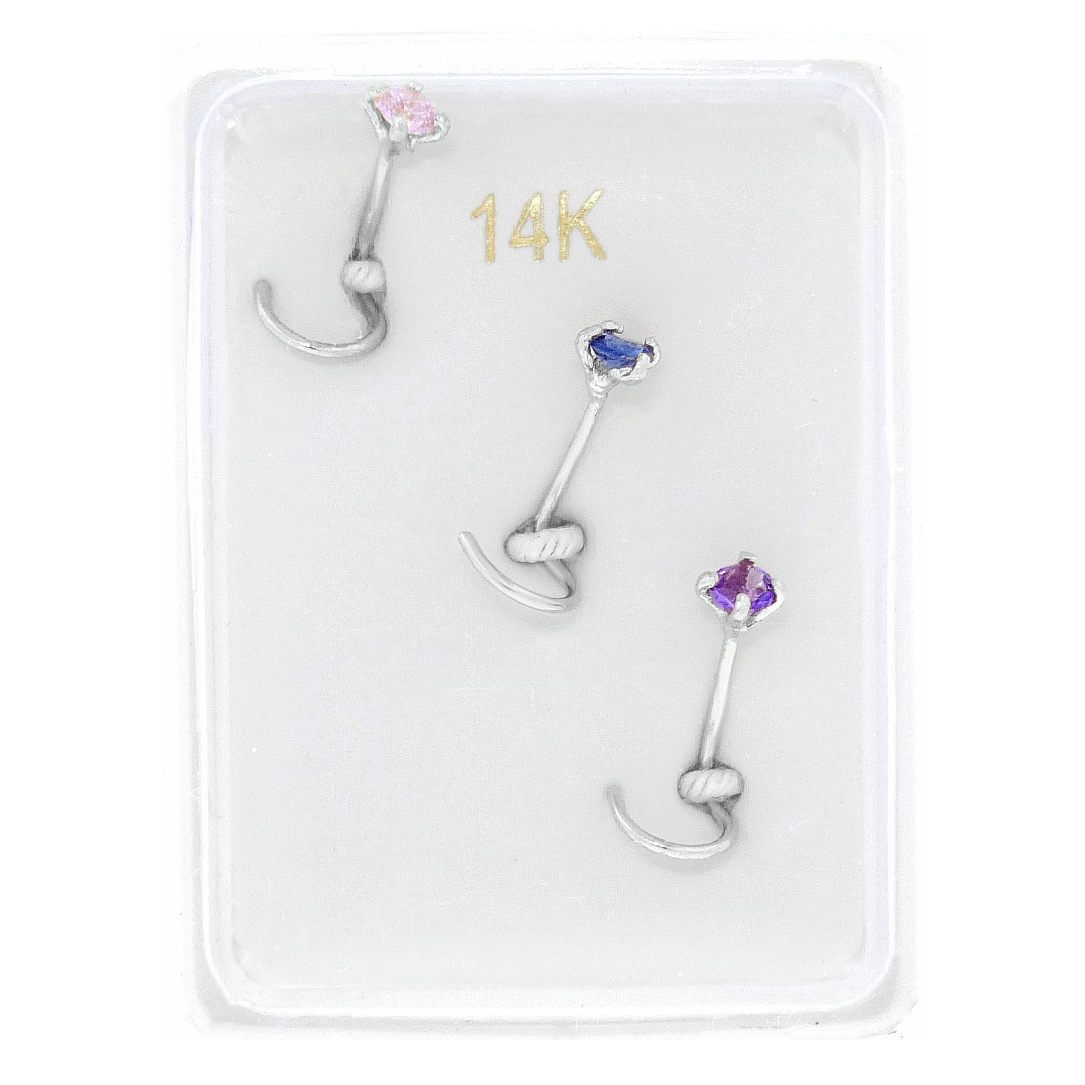 Nose piercing cut out  K White Gold mm Created Pink Blue Purple Sapphire Nose Ring Set