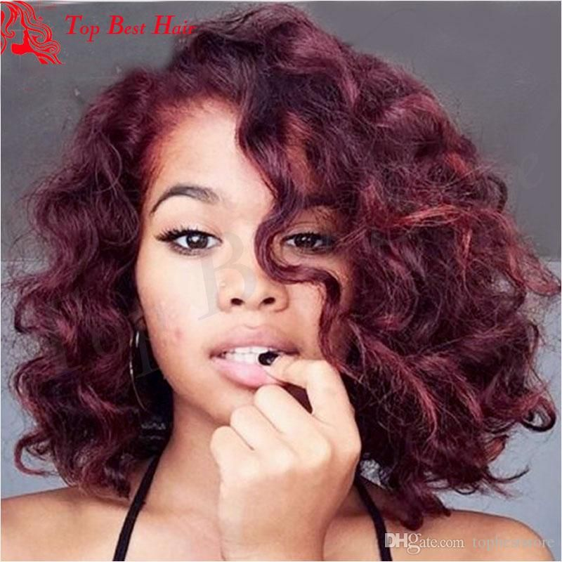 Short Bob Burgundy Lace Front Wig 99j Red Curl Human Hair Lace Wig Glueless Lace Dogal Bukleli Sac Dogal Sac Sac Dalgalari