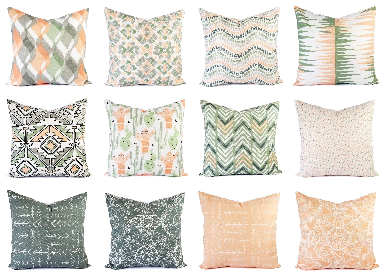 Peach Pillow Cover Green Throw Pillow 18 X 18 Pillow Cover Etsy Green Throw Pillows Peach Pillow Etsy Pillow Covers