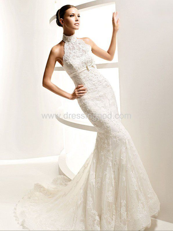 Cheap Wedding Dresses Uk Cheap Graceful High Neck Lace Over Satin