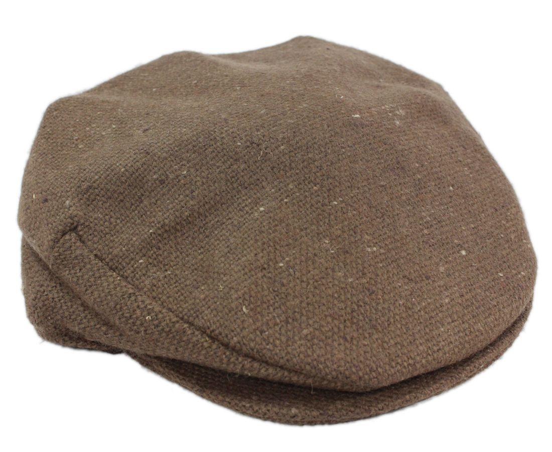 Brown Flat Cap Tweed Donegal Town Hanna Hats Ireland Irish Made ... 25f8cb114b3e